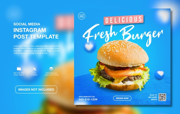 Köstliche burger-menü-instagram-social-media-vorlage