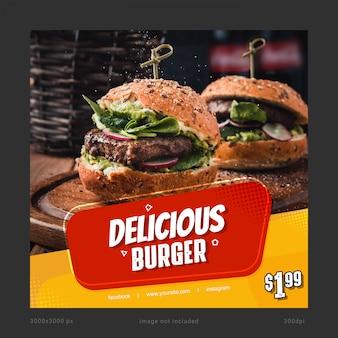 Köstliche burger-social media-fahnen-schablone