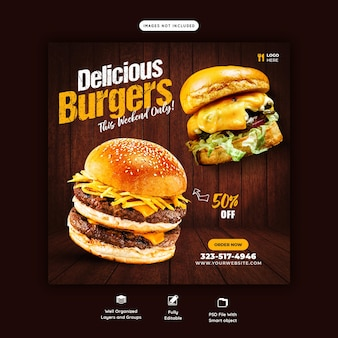 Köstliche burger und essen menü social media post vorlage
