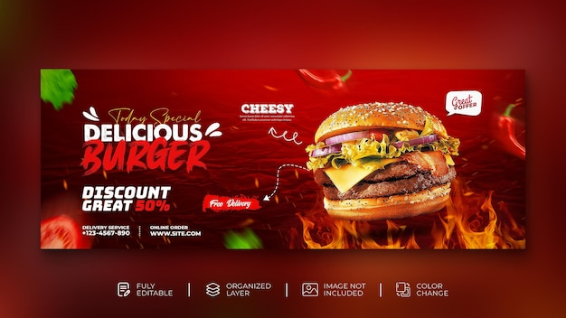 Köstliche burger- und essensmenü-social-media-promotion-webbanner instagram-post-vorlage kostenlose psd