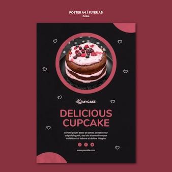 Köstliche cupcake-plakatschablone
