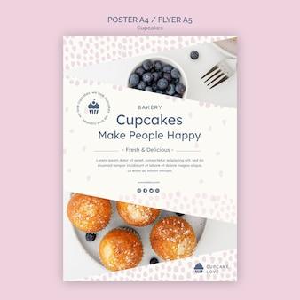 Köstliche cupcakes flyer vorlage