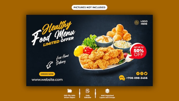 Köstliche food web banner vorlage