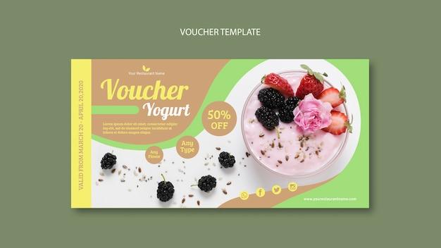 Köstliche joghurt-gutschein-vorlage