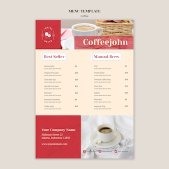 Köstliche kaffeemenüschablone