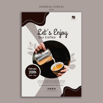 Köstliche kaffeeplakatschablone