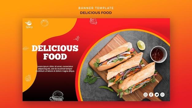 Köstliche lebensmittel-banner-vorlage