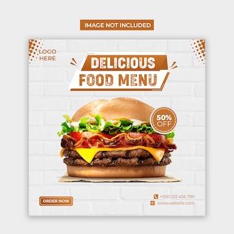 Köstliche lebensmittel social media und instagram post vorlage