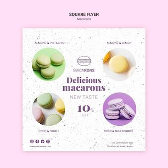 Köstliche macarons quadratische flyer-vorlage