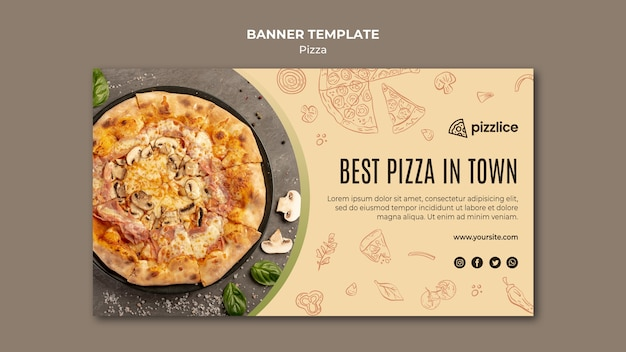Köstliche pizza banner vorlage