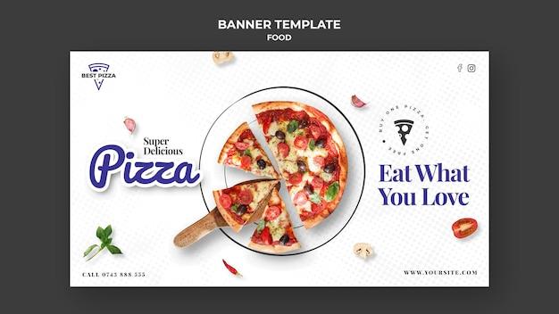 Köstliche pizza horizontale fahnenschablone