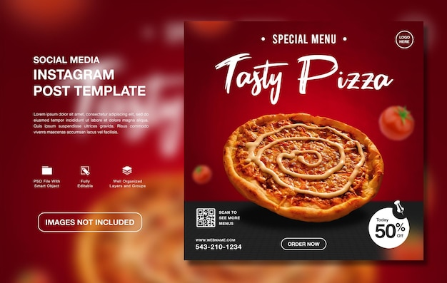 Köstliche pizza-menü-instagram-social-media-vorlage