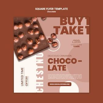 Köstliche quadratische flyer-vorlage mit schokolade