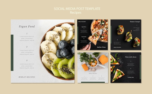 Köstliche rezepte social media post vorlage