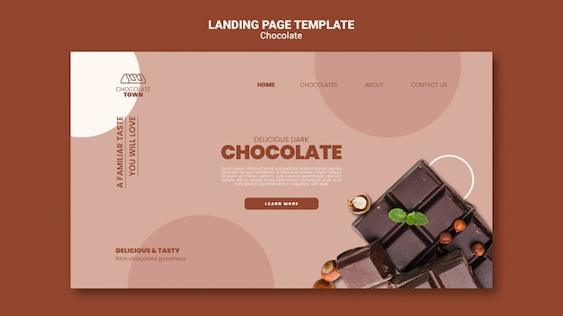 Köstliche schokoladen-landingpage-vorlage