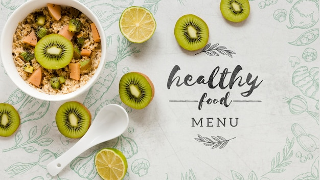 Köstliche schüssel der draufsicht früchte und kiwi