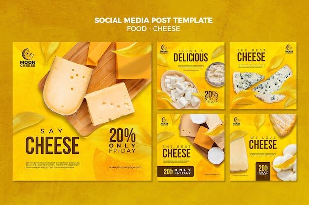 Köstliche social-media-post-vorlage für käse