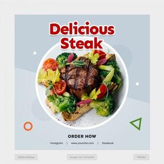 Köstliche steak social media banner vorlage
