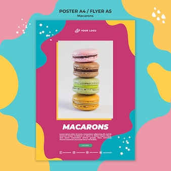 Köstliche süße macarons flyer vorlage