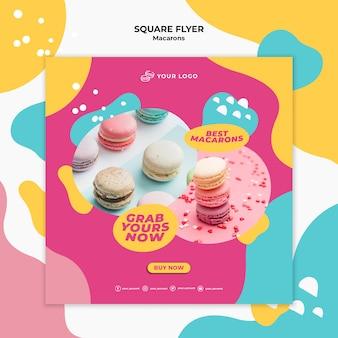 Köstliche süße macarons quadratische flyer-vorlage
