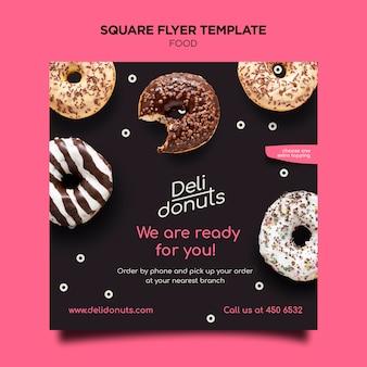 Köstlicher donuts quadratischer flyer