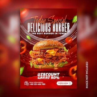 Köstlicher fast-food-burger und speisemenü-restaurant-poster-flyer-social-media-banner-vorlage ps