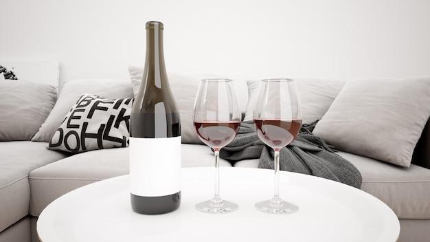 Köstlicher rotwein in einem modernen wohnzimmermodell