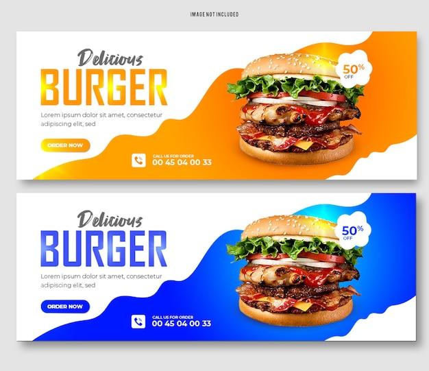 Köstliches burger-essen facebook-cover-banner-vorlage