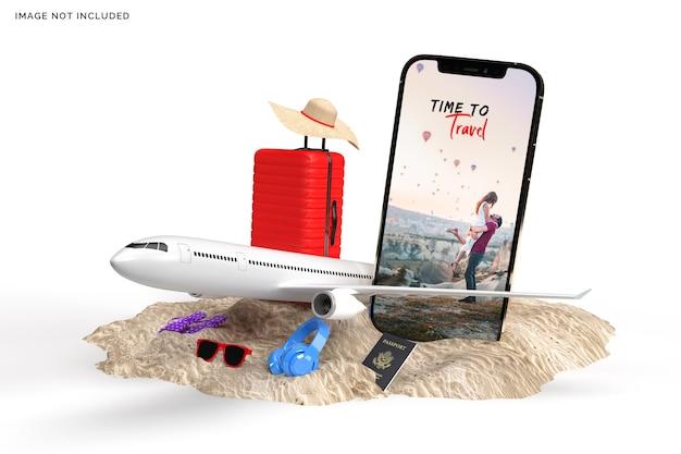 Koffer mit flugzeug, reisezubehör rendering