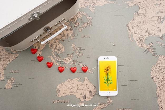 Koffer und smartphone