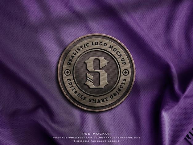 Kohlefaser-logo-abzeichen oder patch-mockup auf jersey-gewebe