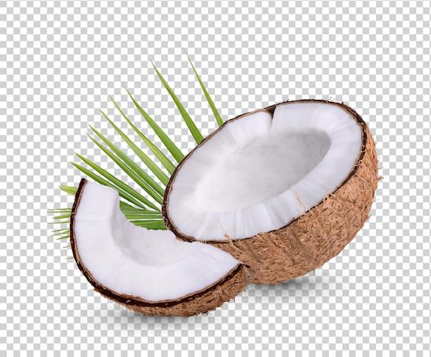 Kokosnuss mit blättern isoliert premium psd