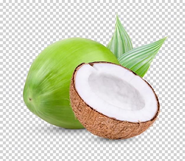 Kokosnuss und die hälfte der kokosnuss isoliert