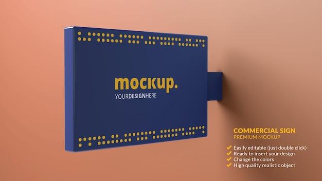 Kommerzielles schildmodell an einer wand für das branding im 3d-rendering