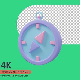Kompass 3d-traveler-symbol illustration hochwertiges rendern