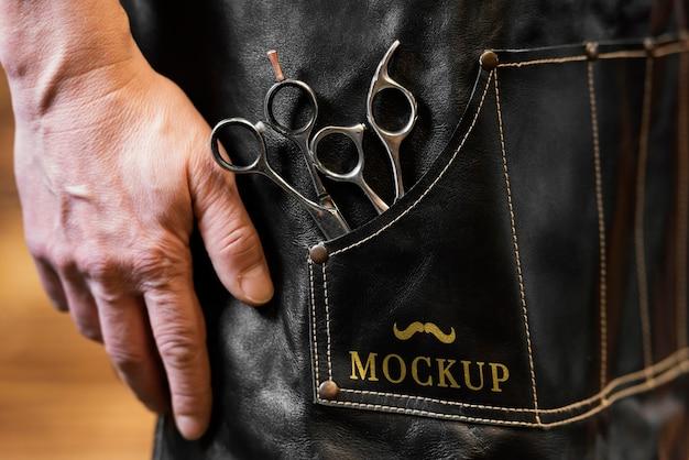 Komposition mit barbershop-mock-up
