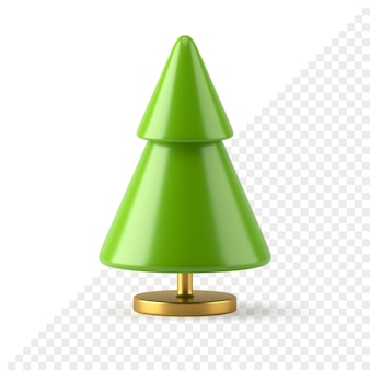 Konischer grüner realistischer weihnachtsbaum 3d übertragen. minimalistisches geometrisches design auf goldenem ständer. kreatives festliches neues jahr mit zwei abgestuften elementen. abstraktes symbol frohe feiertage.
