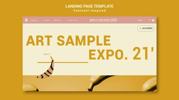 Kontrastinspirierte landingpage-vorlage für die kunstausstellung
