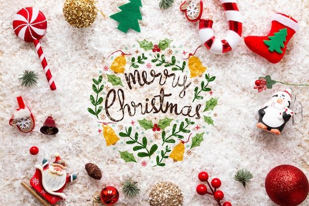 Konzept der frohen weihnachten der draufsicht