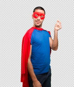 Konzept eines superhelden besorgt um seine wirtschaft