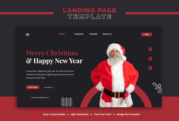 Konzept für frohe weihnachten und neujahr landing page oder social-media-banner-vorlage