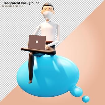 Konzept für mobile anwendungen und cloud-dienste. geschäftsmann sitzt auf großem wolkenschild. 3d-darstellung.