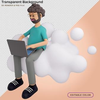 Konzept für mobile anwendungen und cloud-dienste. männlicher charakter sitzt auf einem großen wolkenschild. 3d-darstellung.