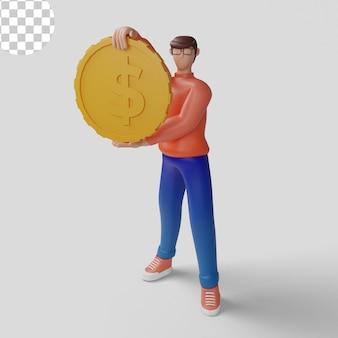 Konzept-geschäftsmann mit großem dollarzeichen 3d-illustrations-investitionskonzept