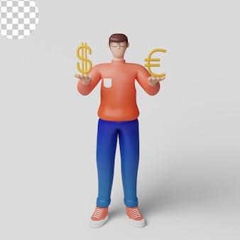 Konzept-geschäftsmann mit großem euro- und dollarzeichen 3d-illustrationsinvestitionskonzept