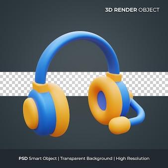 Kopfhörer-symbol 3d-darstellung isoliert premium-psd