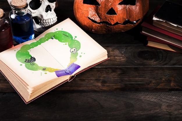 Kopieren sie raum halloween-hintergrund mit dekoration