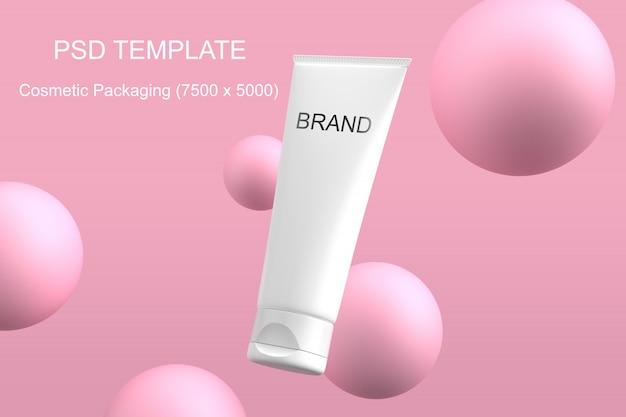 Kosmetik, die psd-schablone des modellrosabereichs verpackt