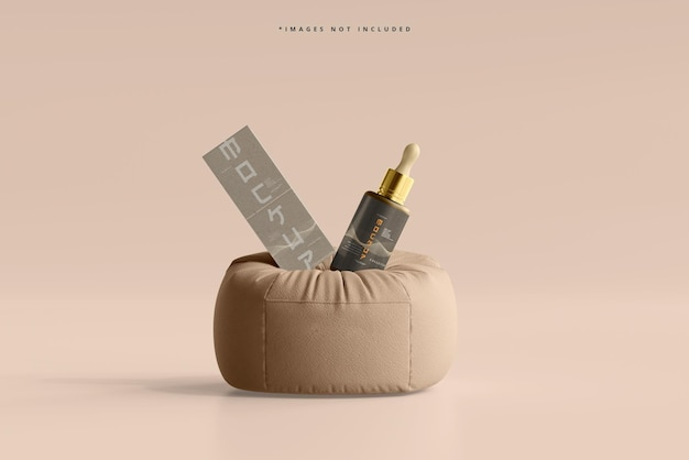 Kosmetik-tropfflasche und -box mockup