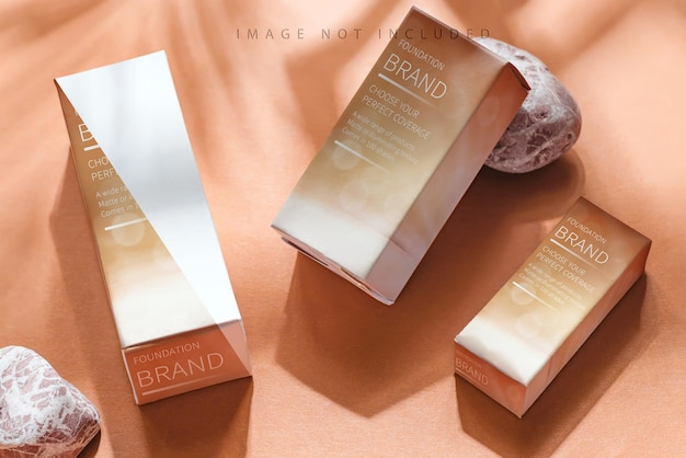 Kosmetikbox modell auf beige Premium PSD